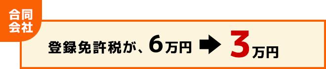 合同会社の登録免許税が6万円から3万円